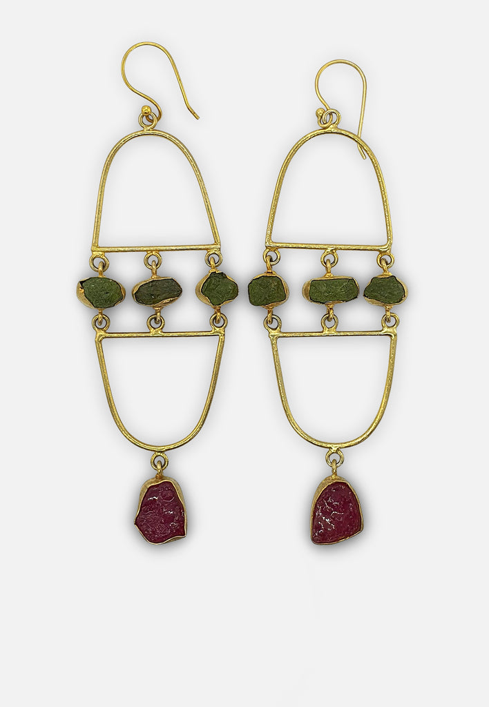 Red and Green Raw Gemstone Earrings