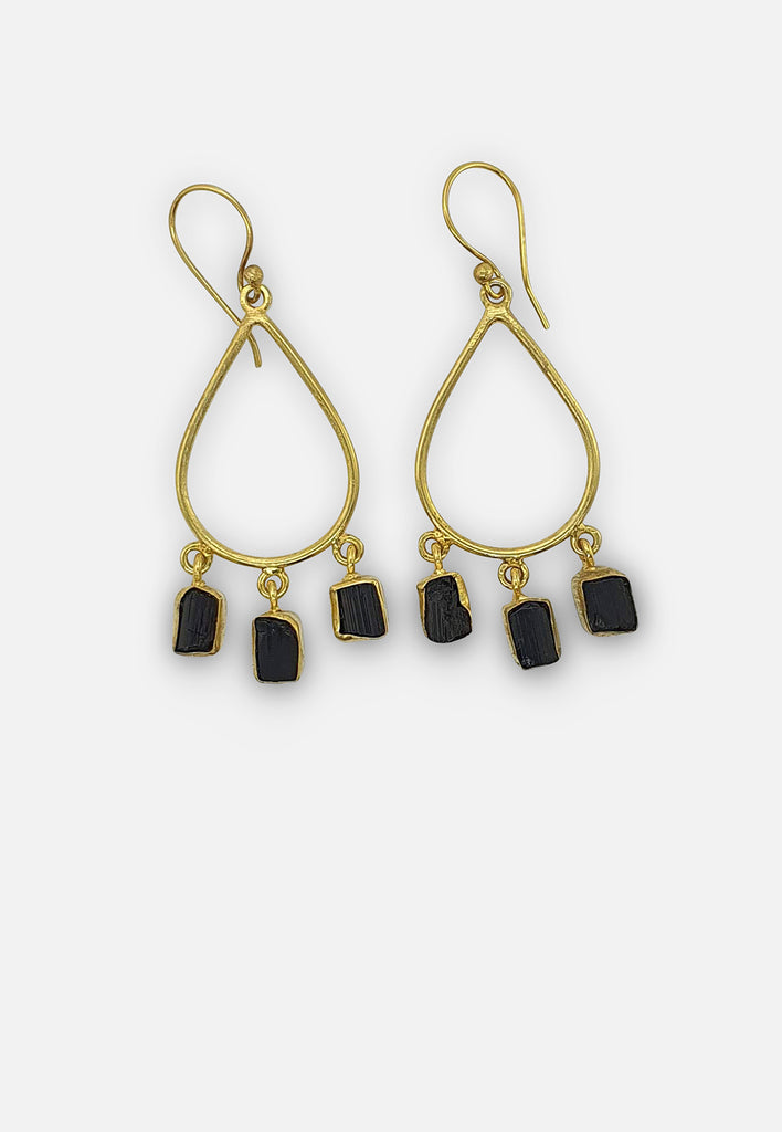 Black Onyx Triad Earrings