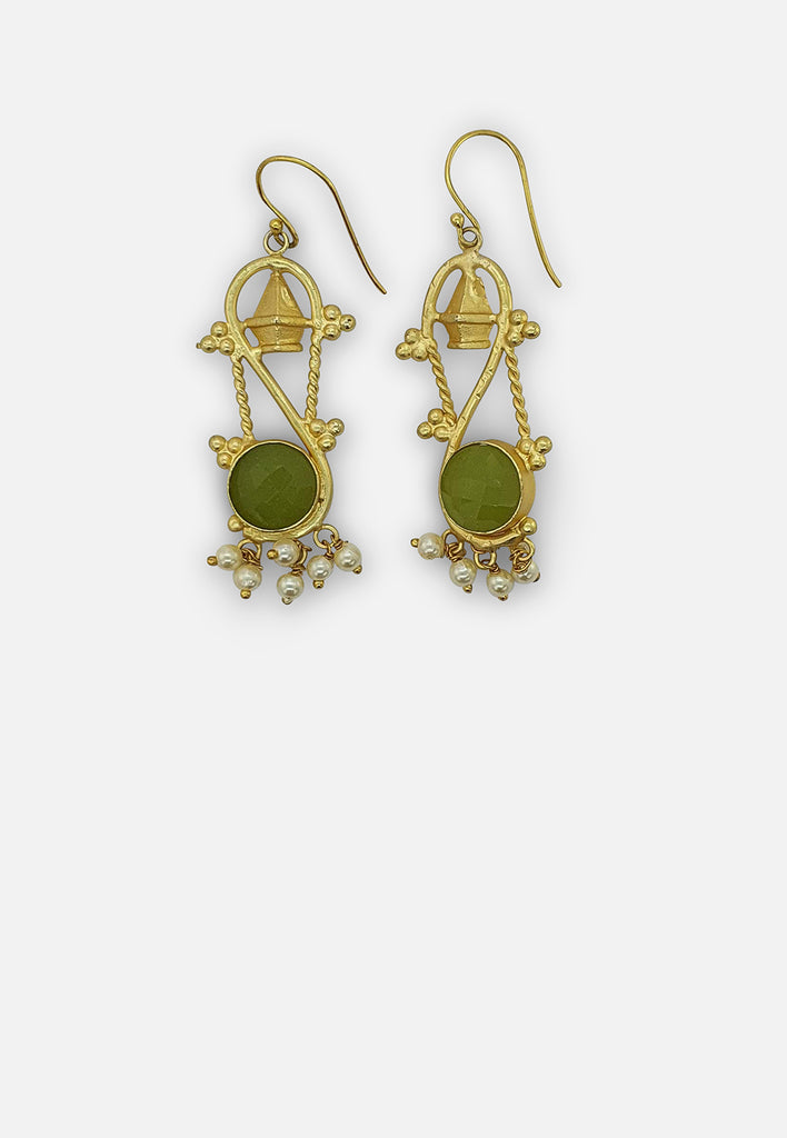 Pearl and Green Stone Earrings