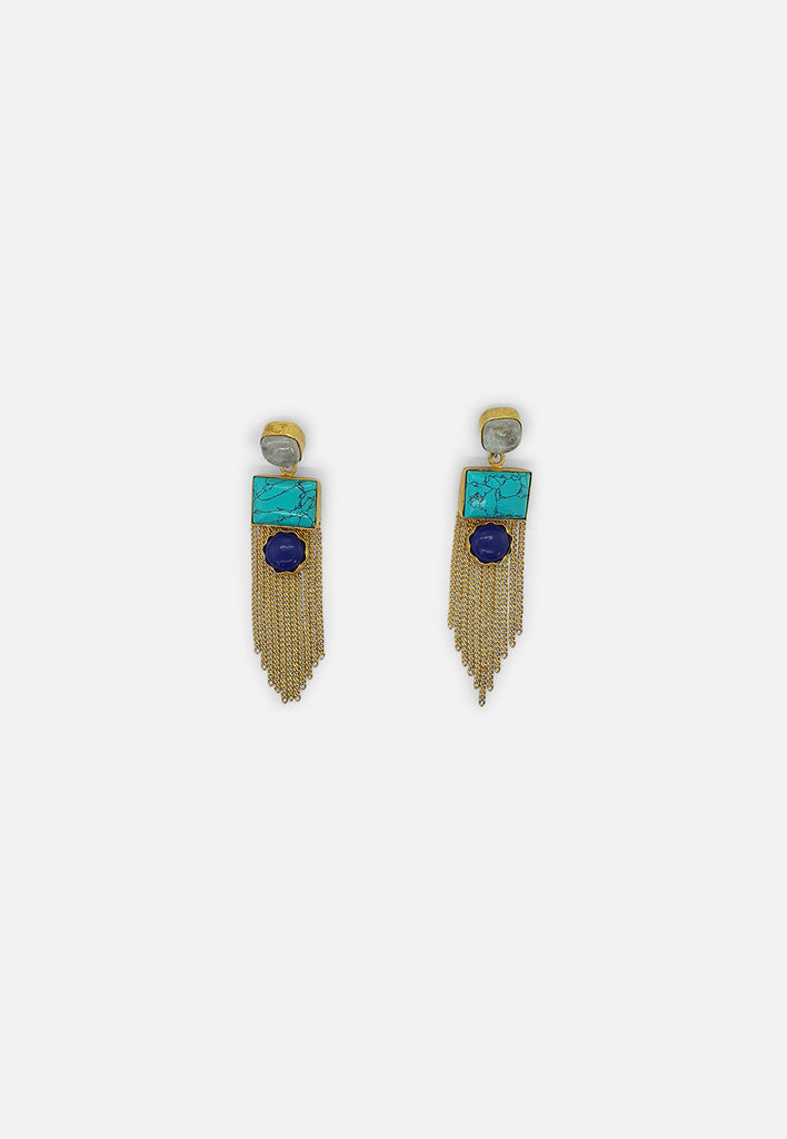 Turquoise, Lapis & Quartz Earrings