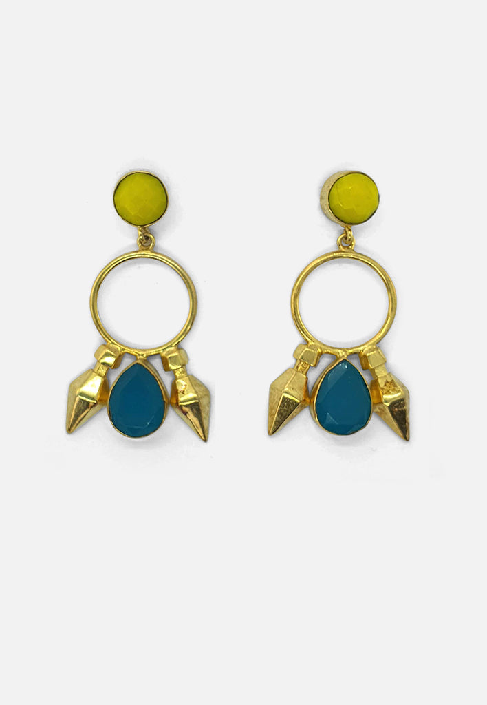 Blue and Yellow Geometric Earrings