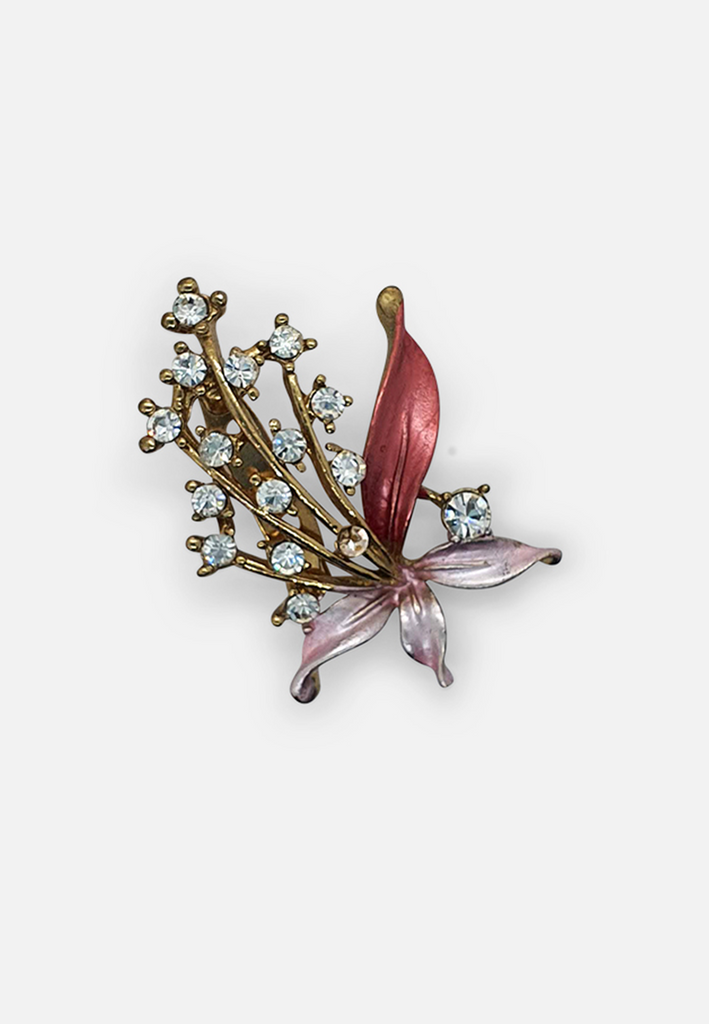 Pink and Diamante Brooch