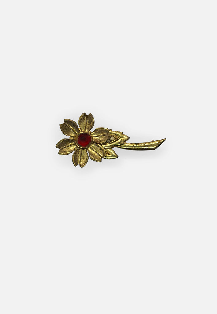Red and Gold Flower Brooch