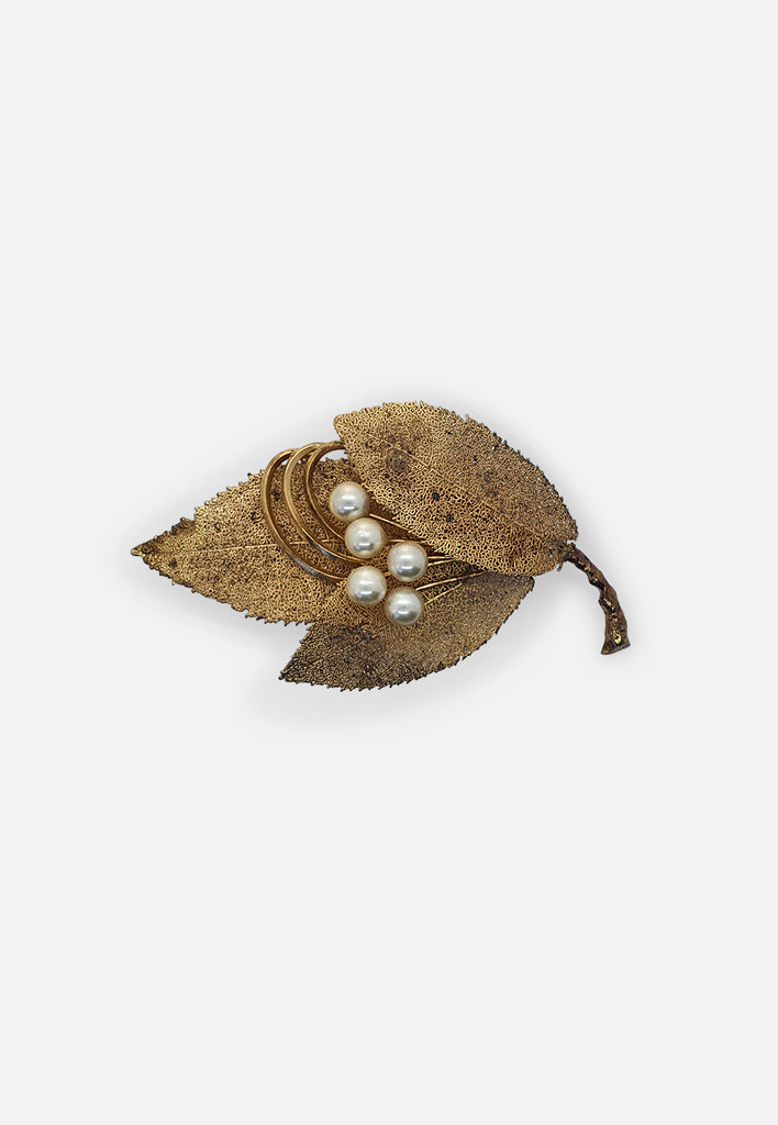 Filigree Leaf + pearl brooch