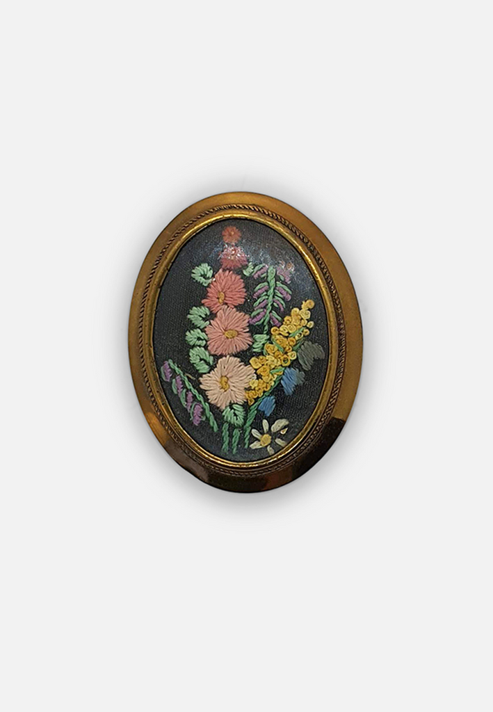 Embroidered Brooch in Brass setting