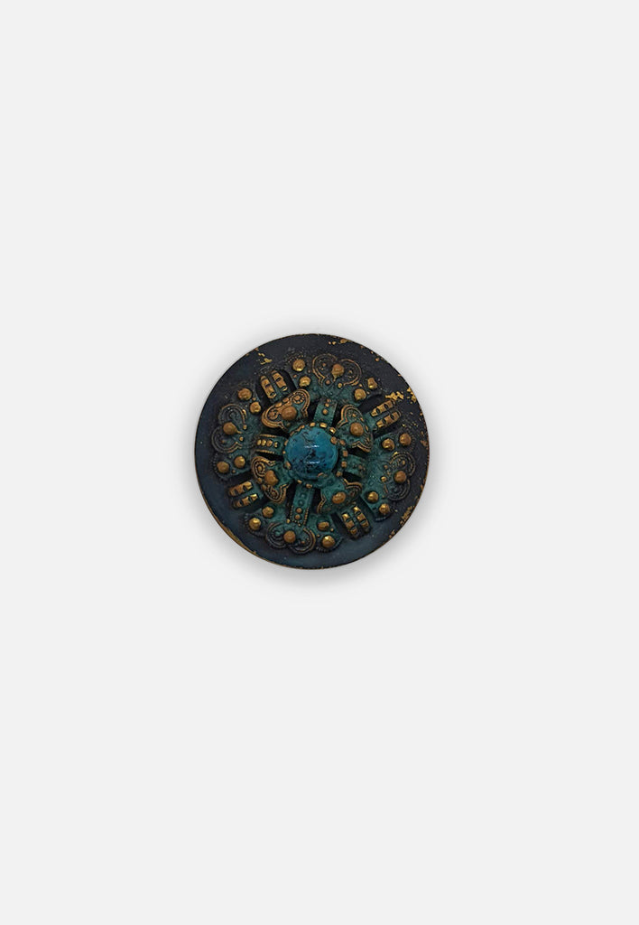 Circular Faux Turquoise Brooch