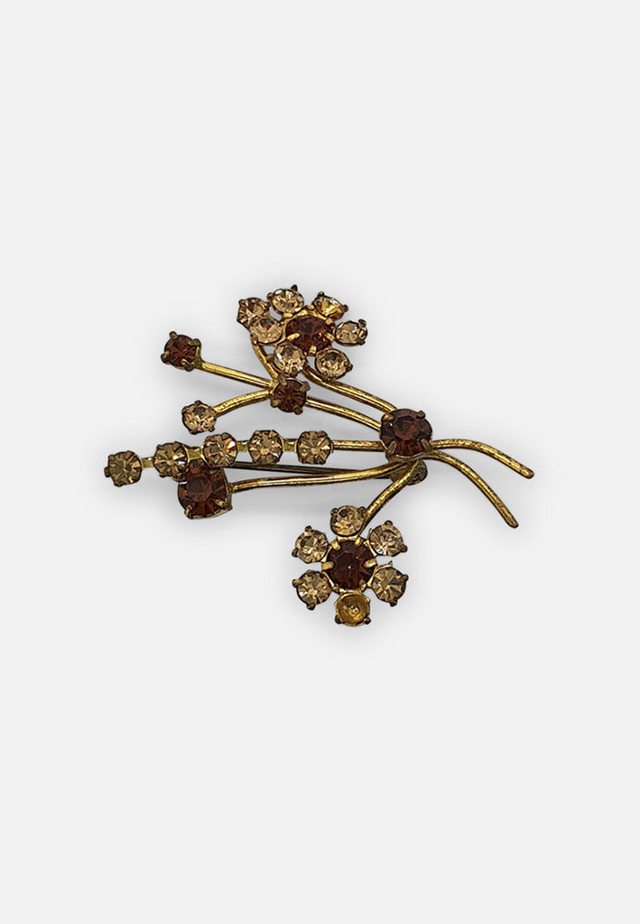 Diamante Flower Posy Brooch