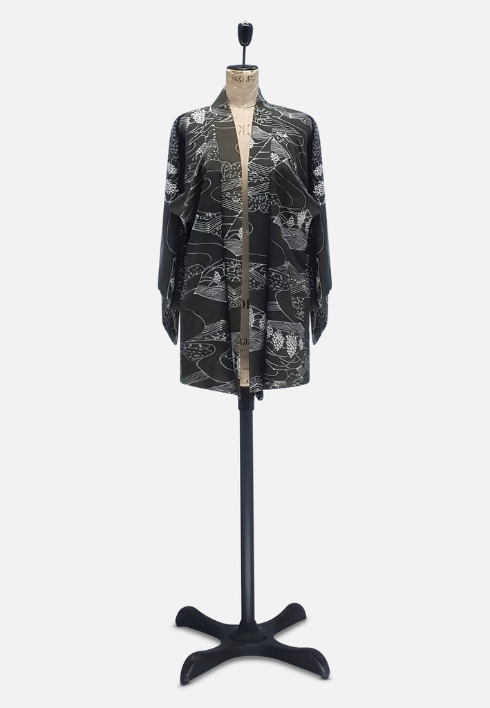 Dark Khaki with Reversible Pale Pink Japanese Silk Kimono