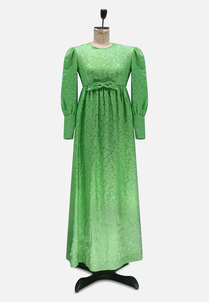 Full Length Green Satin Damask Dress