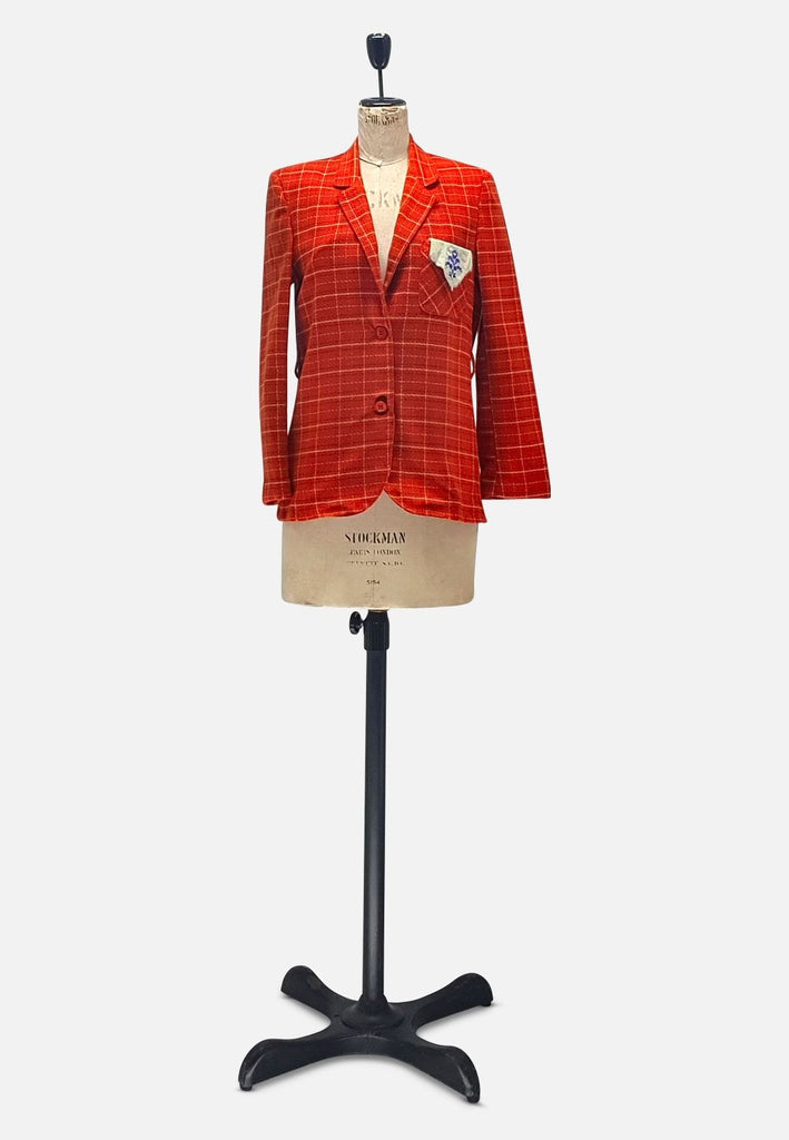 Italian Red Plaid Cotton Jacket