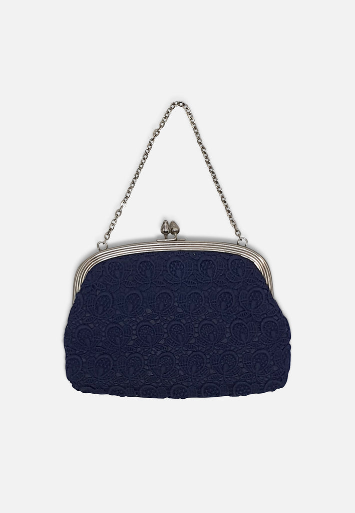 Navy Lace Handbag