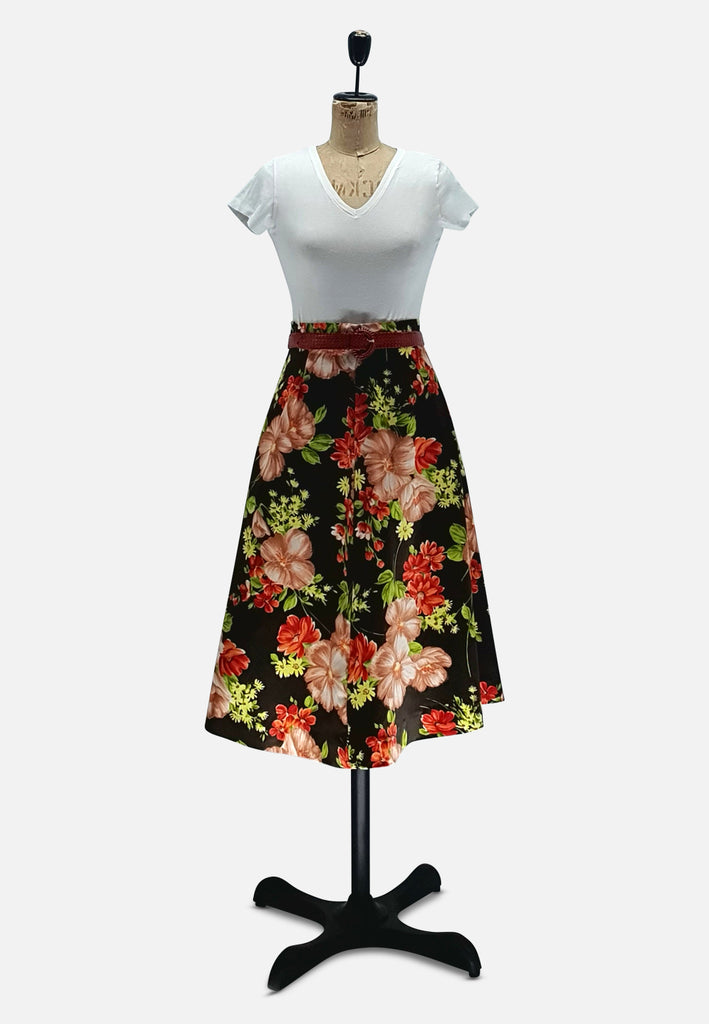 Brown Autumn Florals Skirt
