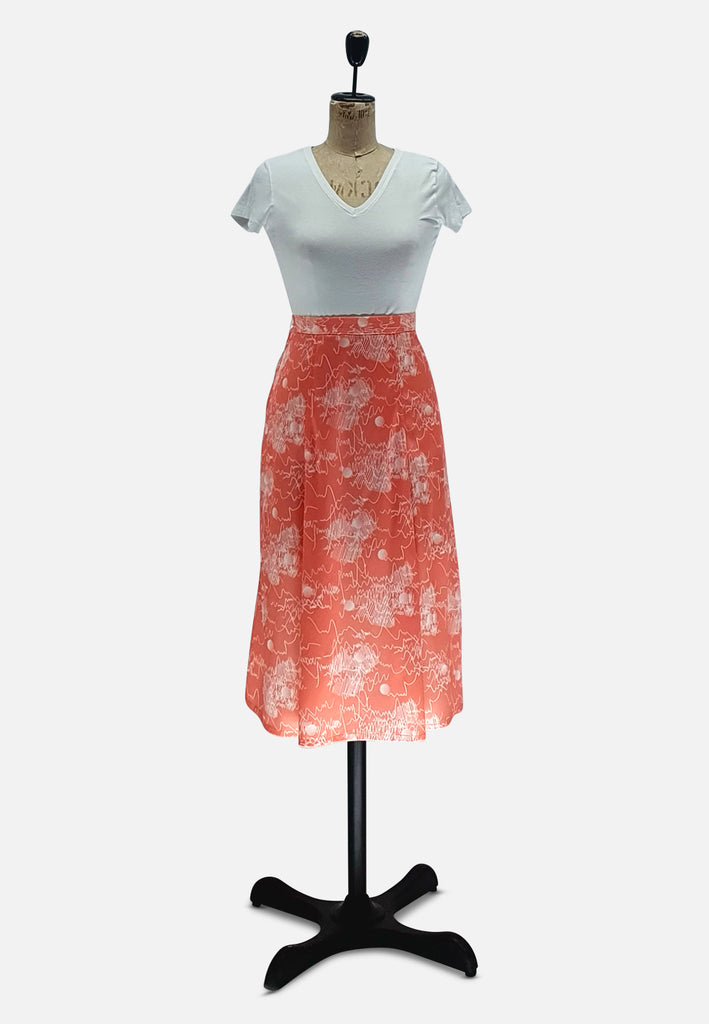 Salmon Printed Skirt