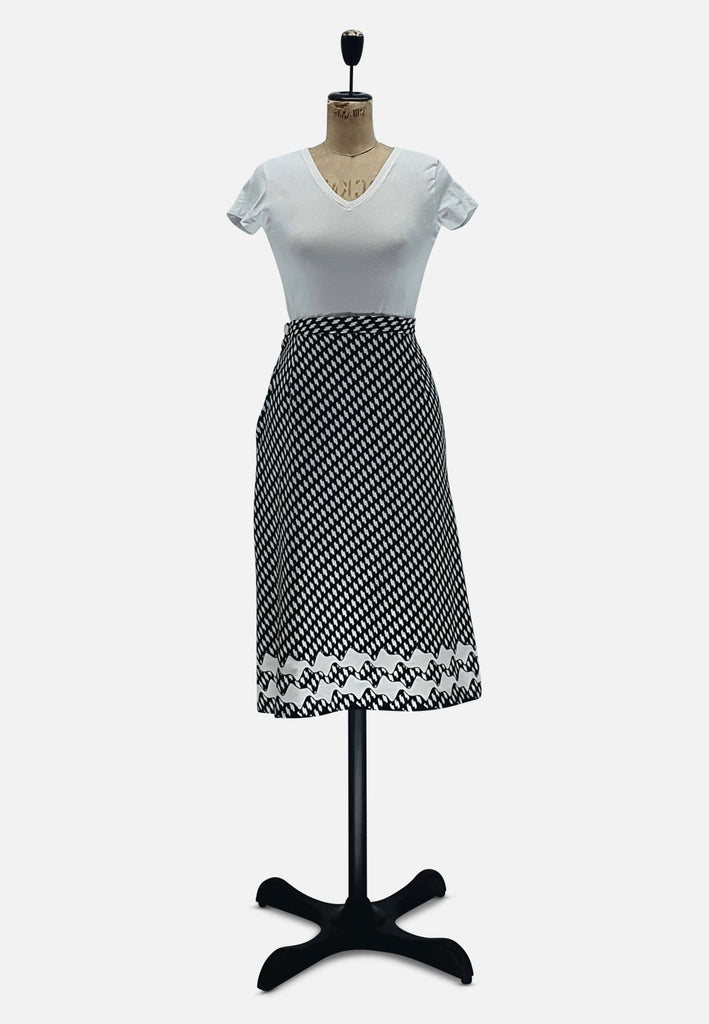 Black and White Straight Skirt