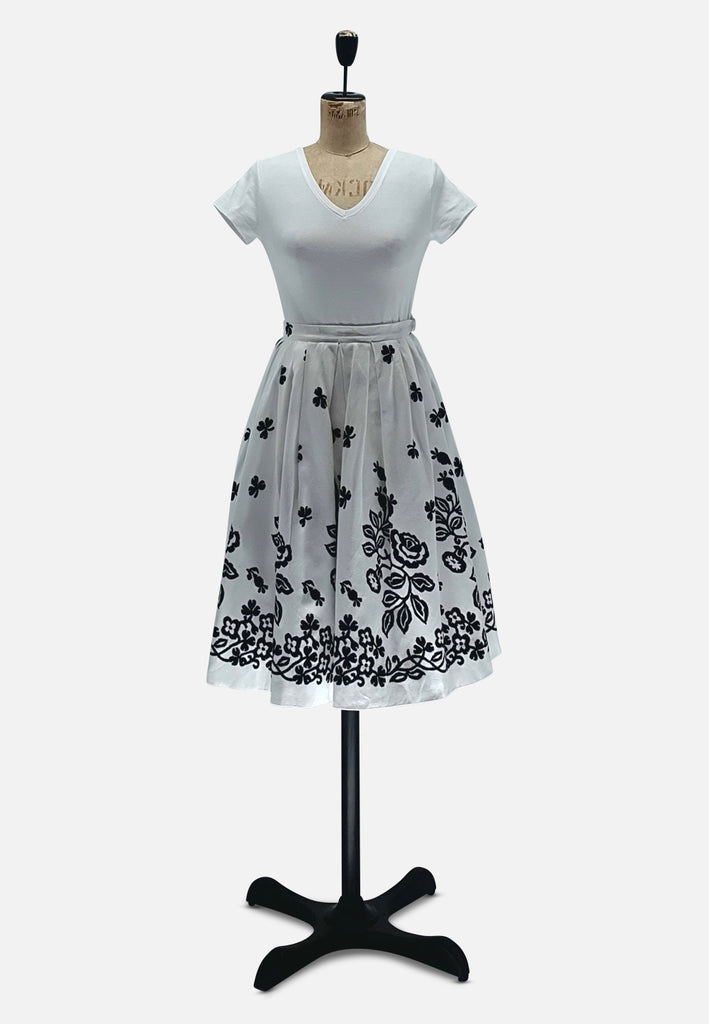 White and Black Floral Skirt RETRO