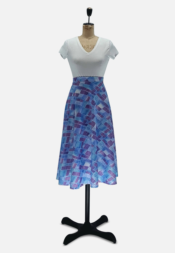 Purple Blue Mauve Pretty Pattern Skirt