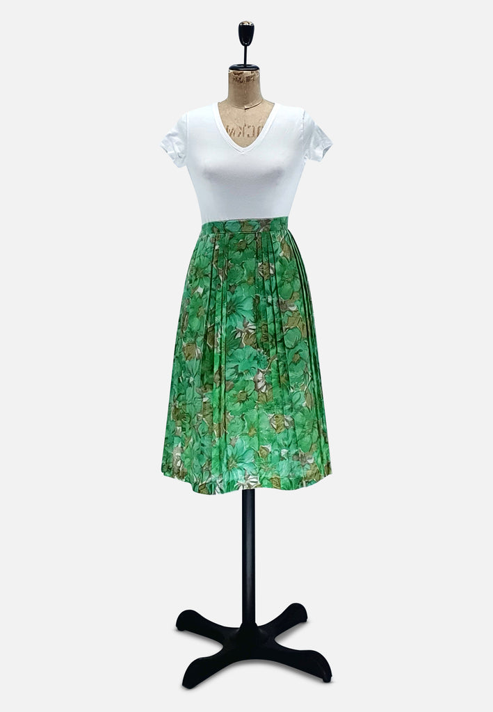 Green Beauty Pleated Floral Skirt