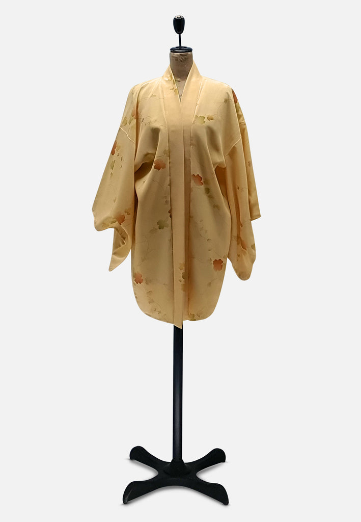 Dreamy Yellow Leaves Japanese Silk Kimono