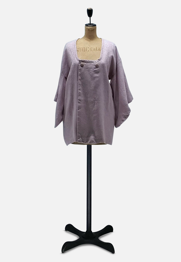 Lilac Wool and Lurex Japanese Silk Kimono