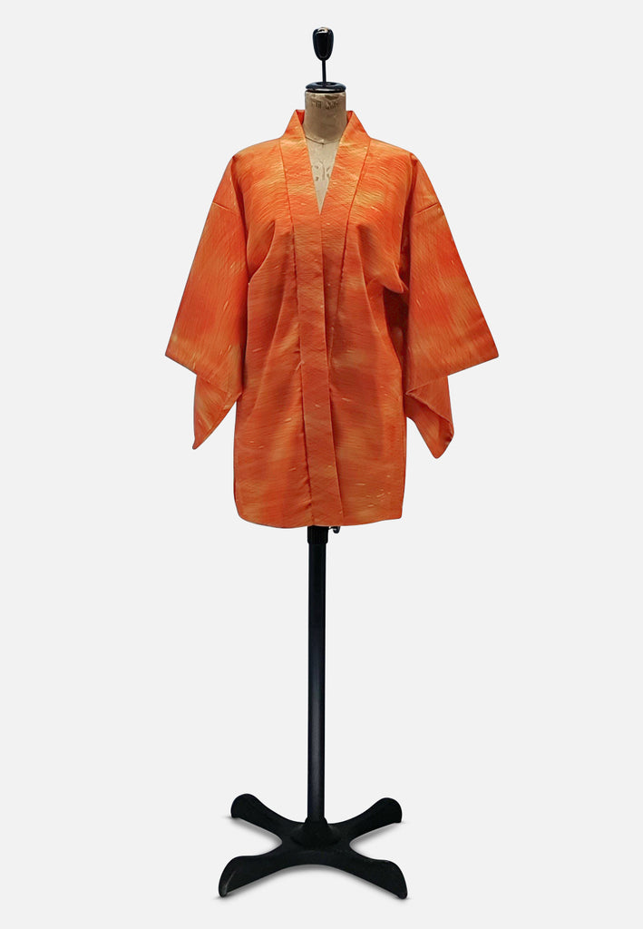 Orange Swipe Right Japanese Silk Kimono