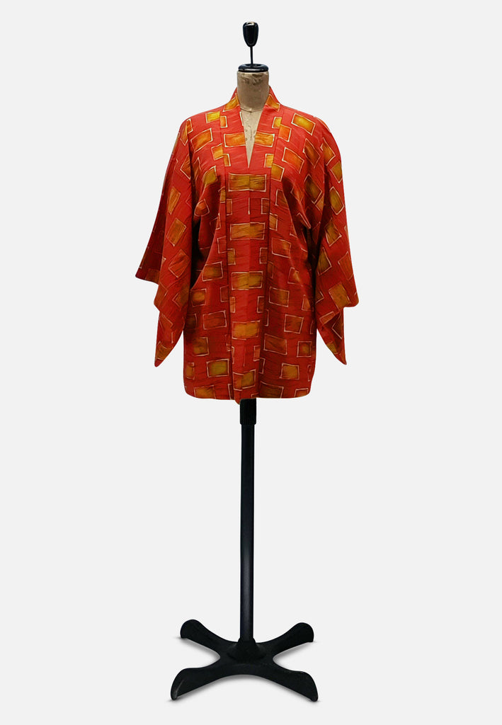 Orange Geometric Japanese Silk Kimono