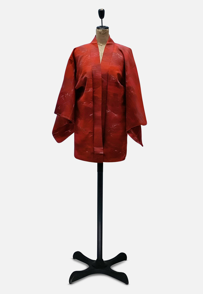 Ravishing Rusted Red and Pink Japanese Kimono