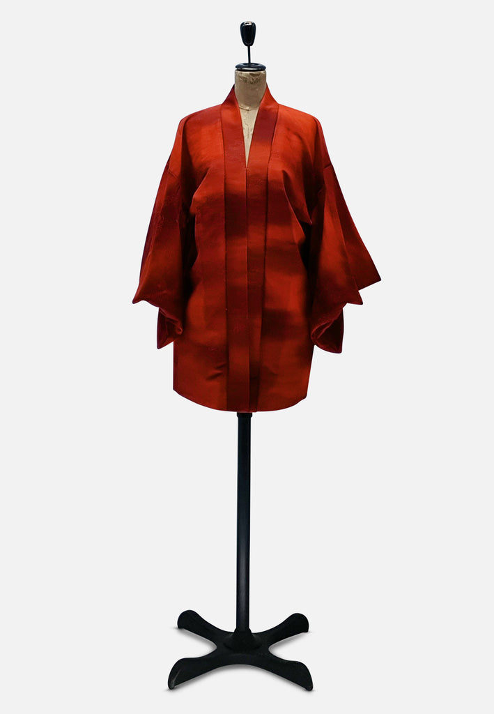 Ravishing Rusted Orange Japanese Silk Kimono
