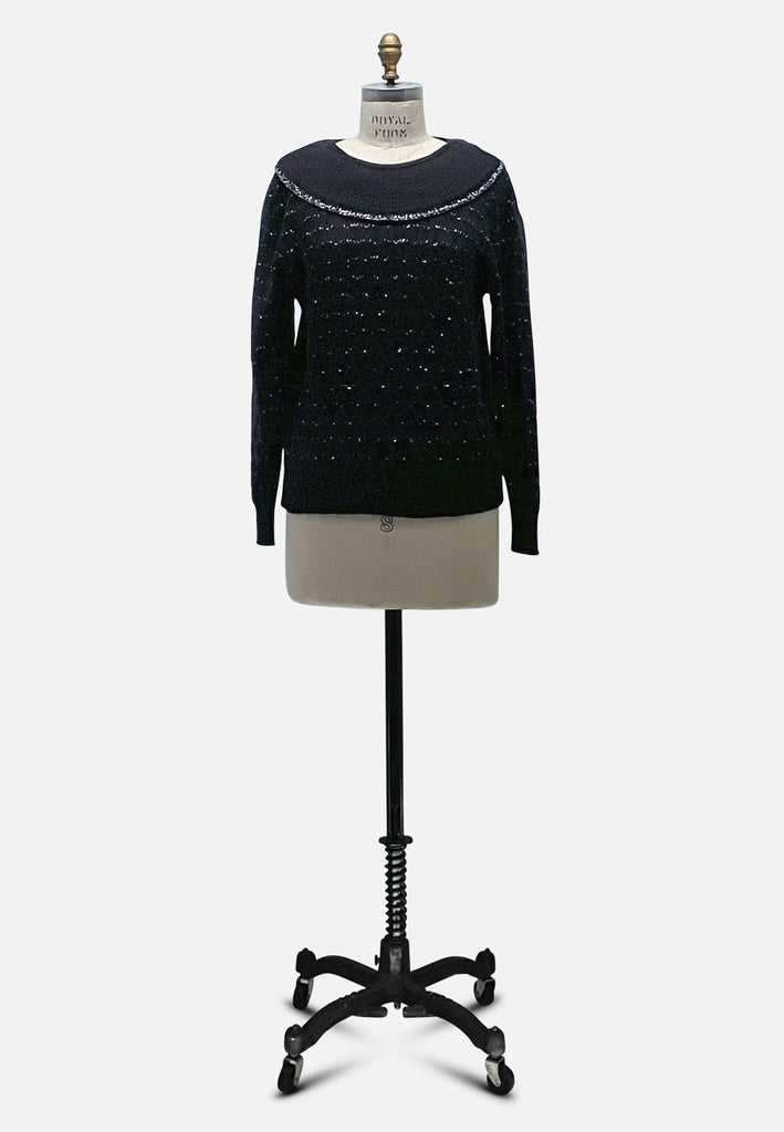 Lainey Black Collared Knit