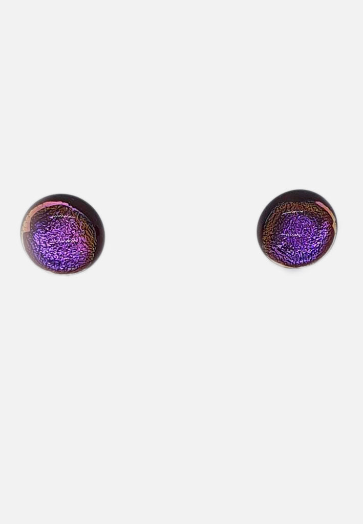 Magenta Sparkle Handblown Glass Stud Earrings