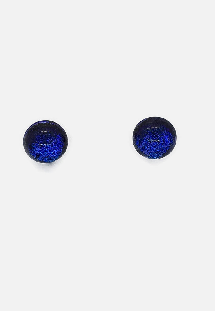 Metallic Dark Blue Flecked Glass Stud Earrings