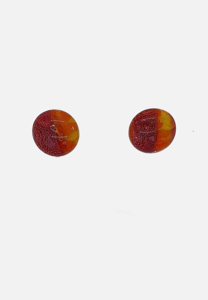 Speckled Orange Handblown Glass Stud Earrings