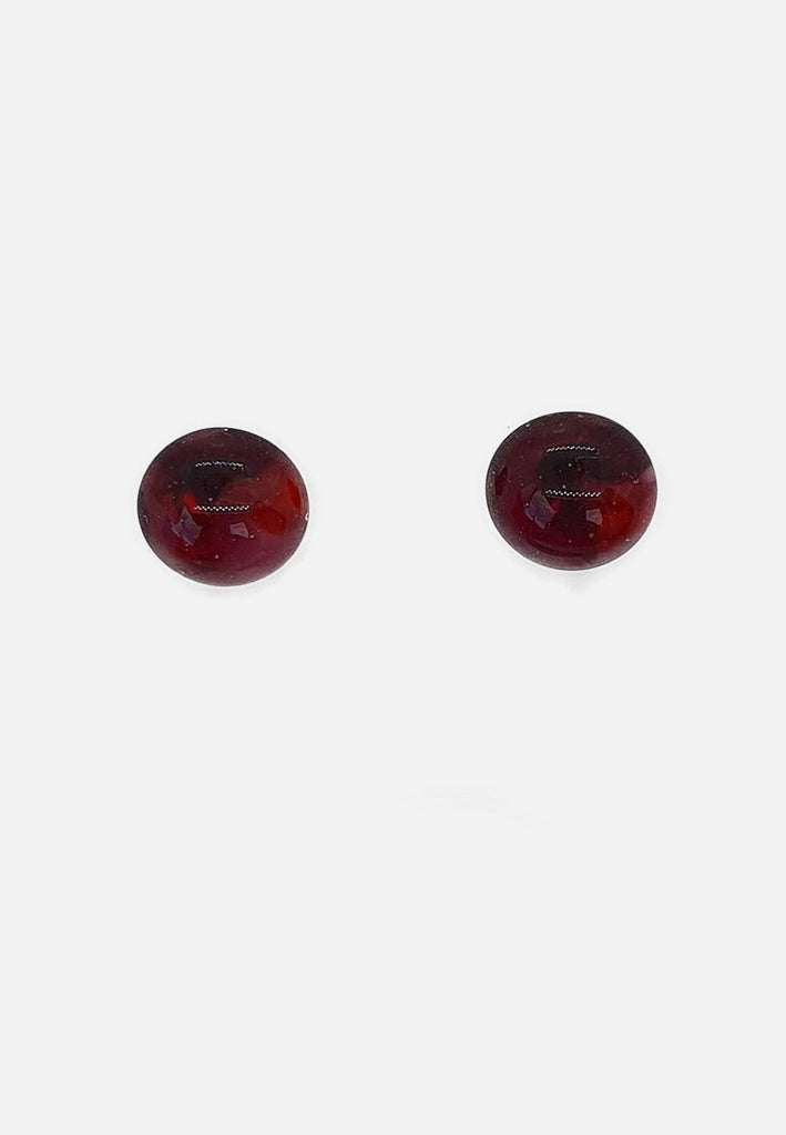 Red Handblown Glass Stud Earrings