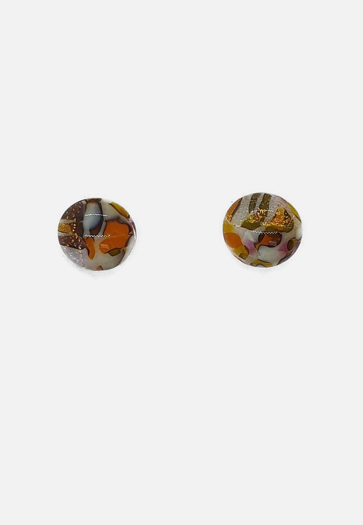 Orange + Gold Flecked Glass Stud Earrings