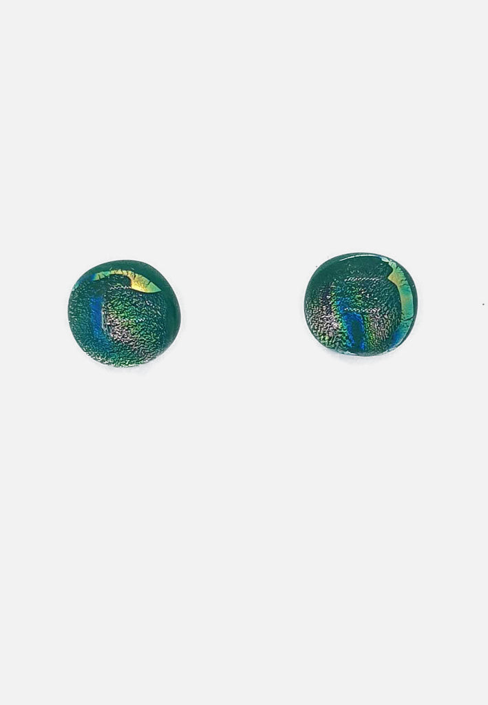 Speckled Green Glass Stud Earrings