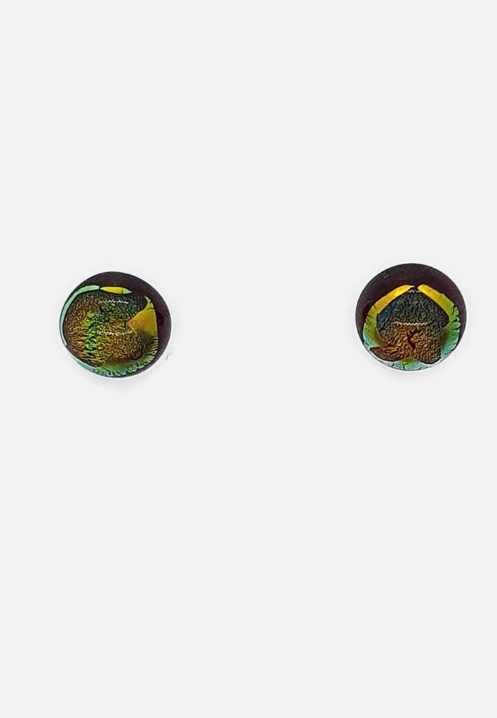 Orange/Green Hue Handblown Glass Stud Earrings