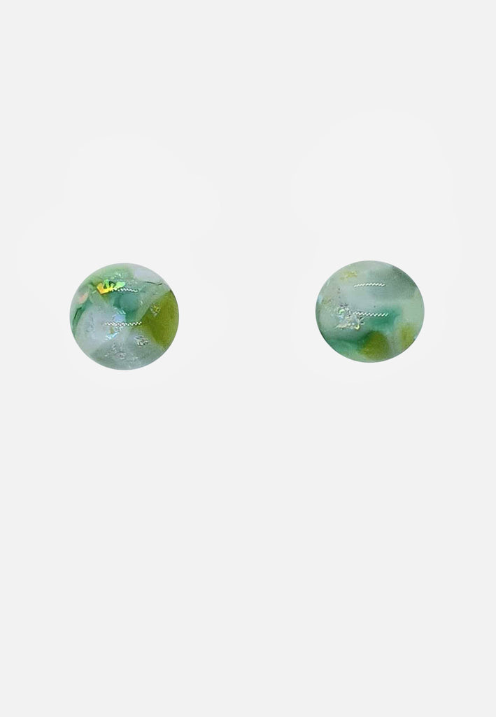Light Green Metallic Glass Stud Earrings