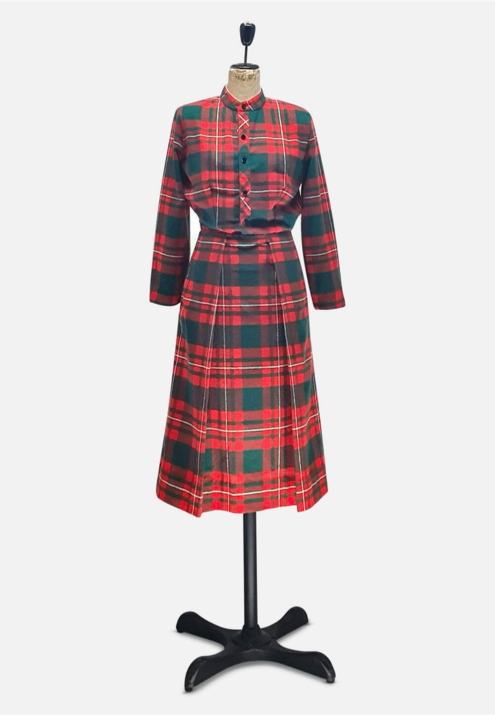 Red and Green Tartan Wool Dress