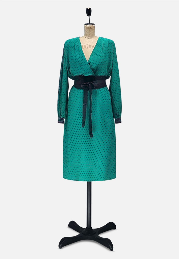 Emerald and Aubergine Silk Dress