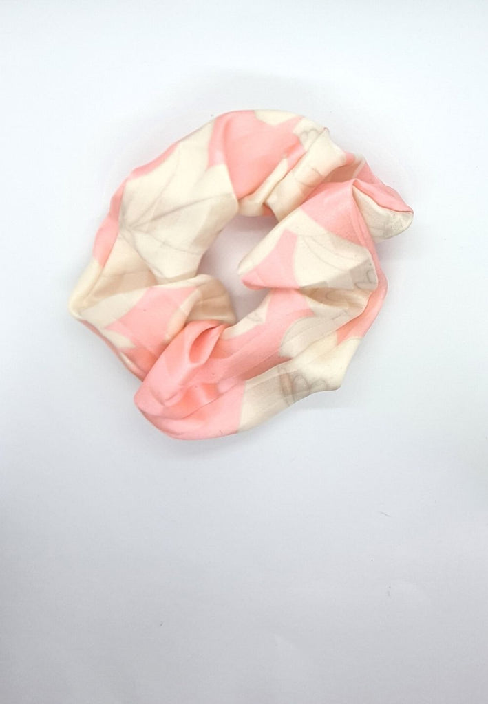 Keep your mane outta the rain Vintage Scrunchie - Pink & White