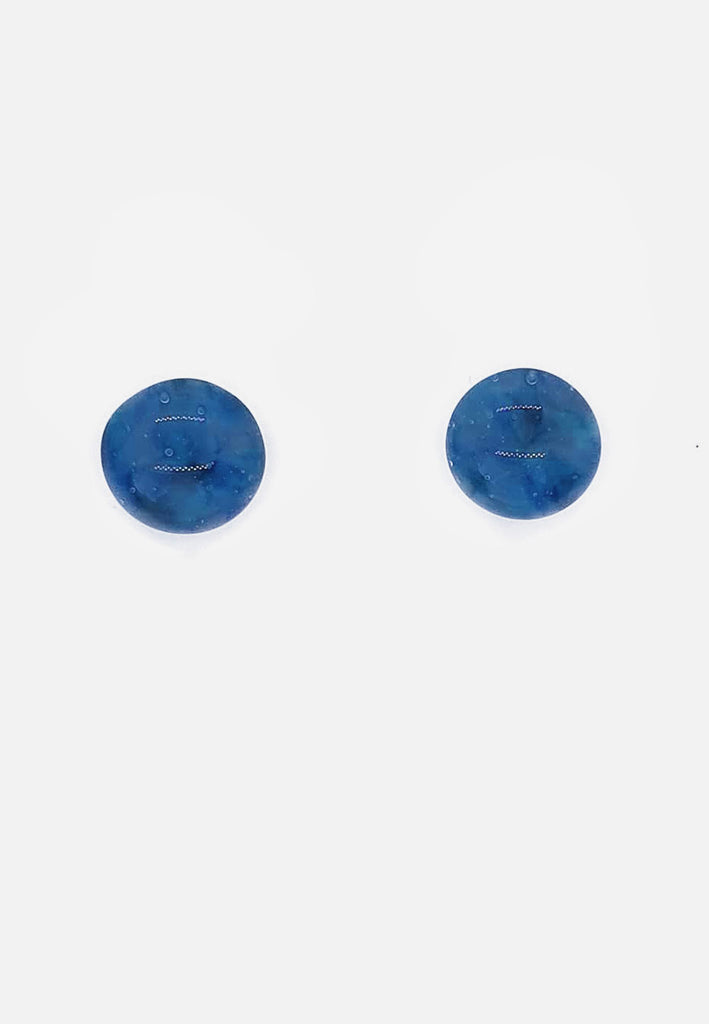 Blue Handblown Glass Stud Earrings