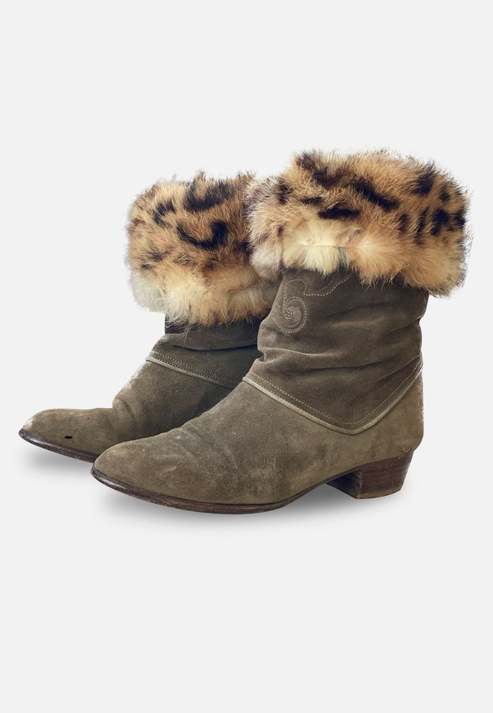 Suede and Fur Italian Vintage Boots