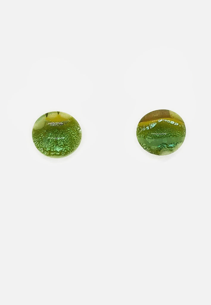 Metallic Green Glass Stud Earrings