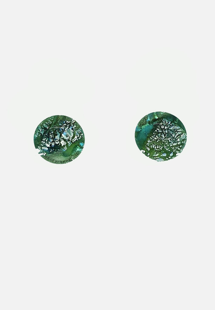 Green + Black Metallic Glass Stud Earrings