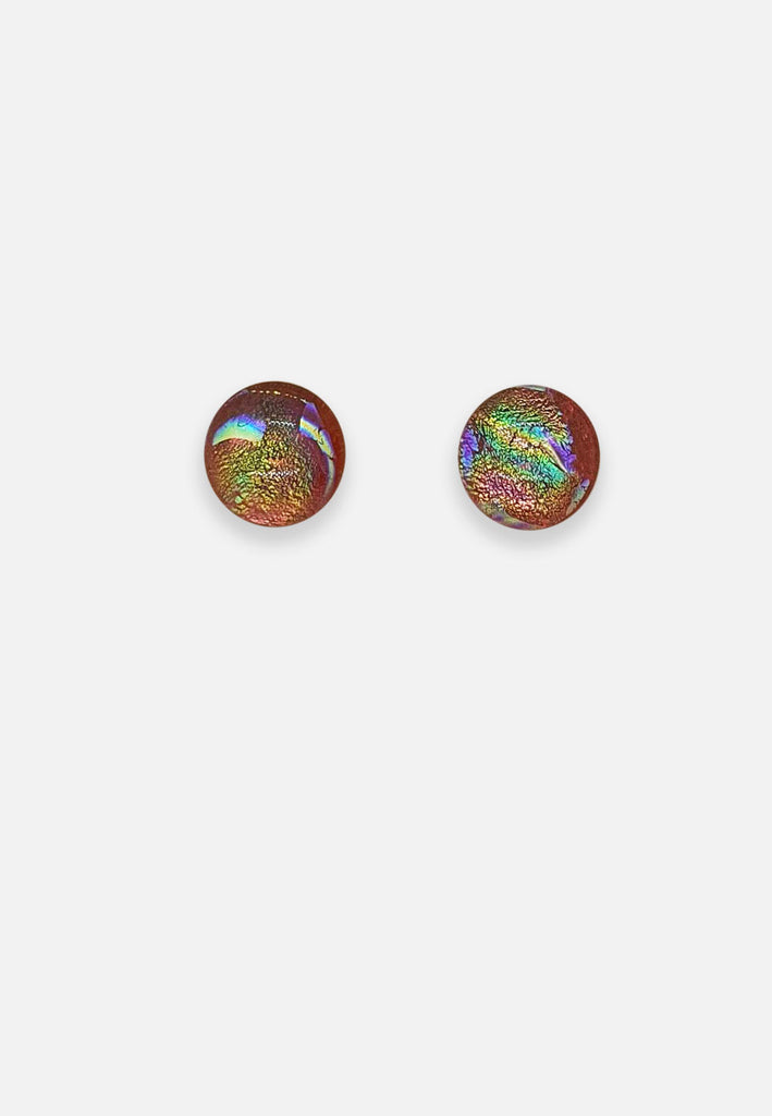 Metallic Fleck Orange Glass Stud Earrings