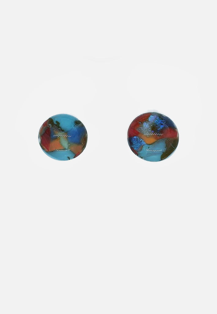 Patterned Handblown Glass Stud Earrings