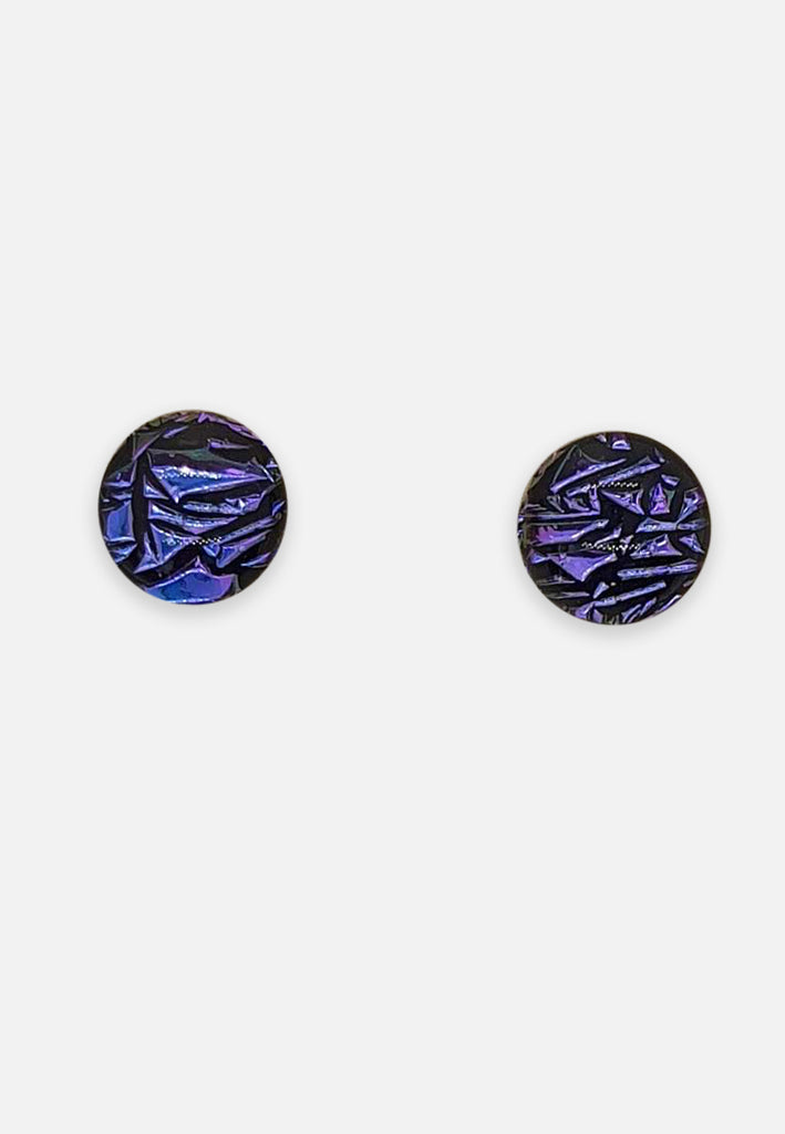 Purple Geometric Handblown Glass Stud Earrings