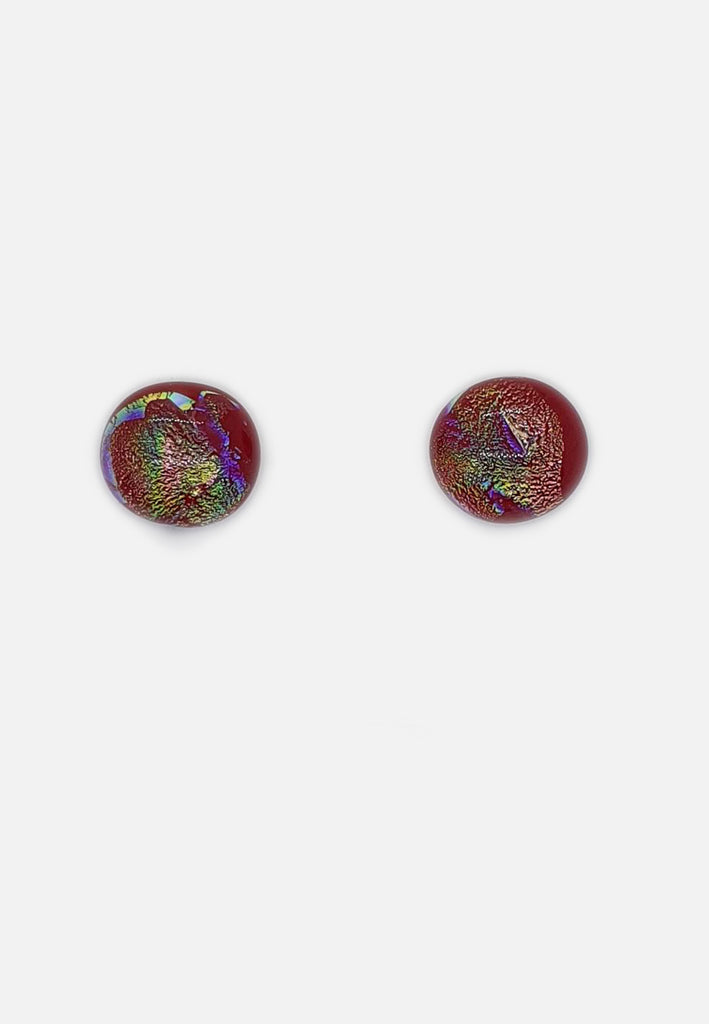 Red Multi-Color Metallic Glass Stud Earrings