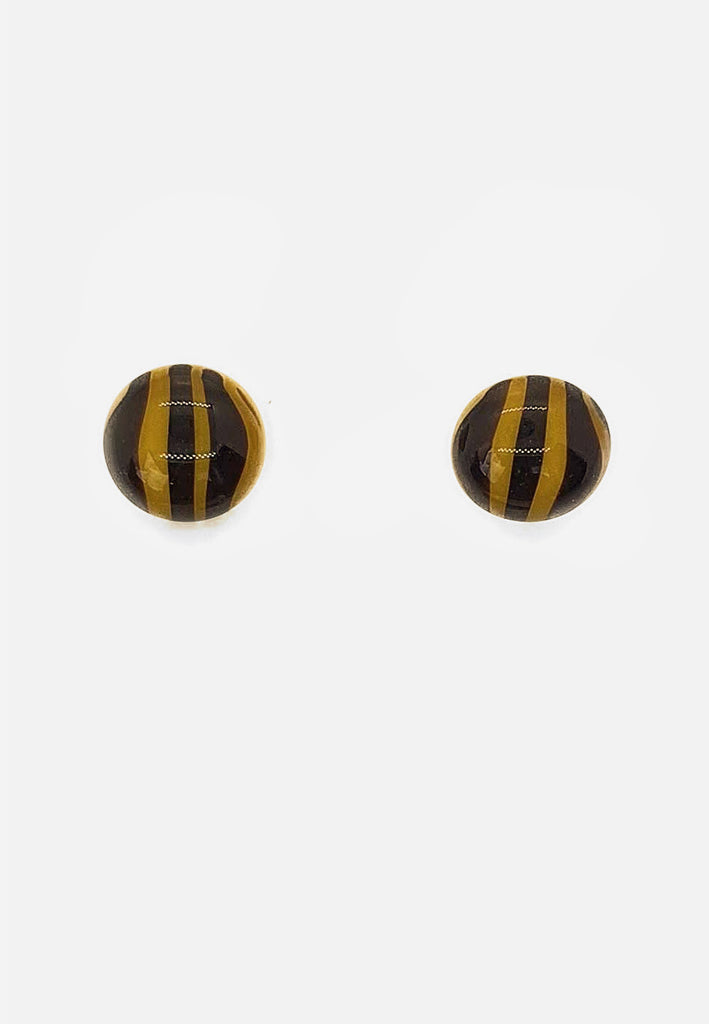 Yellow Striped Glass Stud Earrings