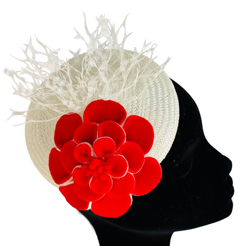 Saint Georges Society New York - Roses  are Red - millinery workshop finished  headpiece