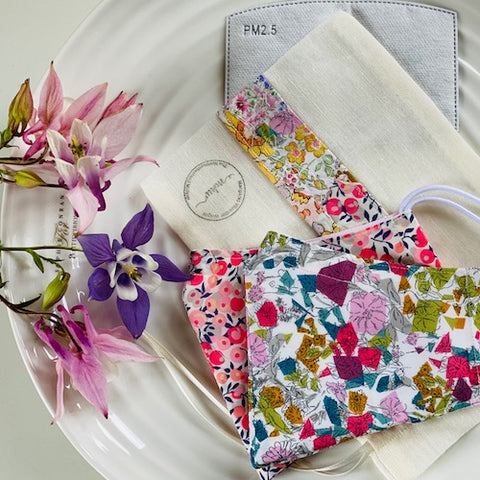 Facemask package - includes 2 x designer fabric facemasks, storage pouch, filters, nose wires, letterbox gift